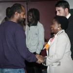 Firenze, 13 dicembre: la Ministra Cecyle Kyenge si congratula con il regista al termine della proiezione.